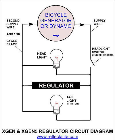 regulators for dynamo generators schematic wiring diagram for bicycle dynamo or hub generator external regulator